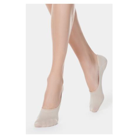 Dámské bavlněné slip on ponožky béžová Conte of Florence