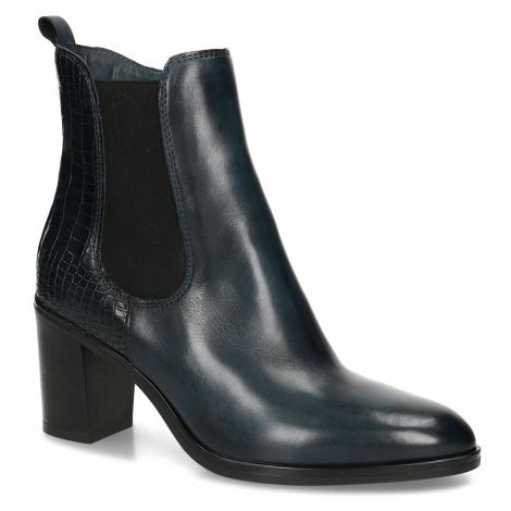 Dámská obuv v Chelsea stylu na podpatku v modré kůži Baťa