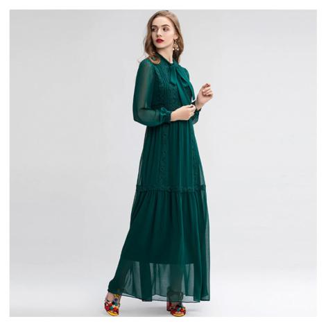 Elegantní zelené retro šaty s dlouhými rukávy a krajkou