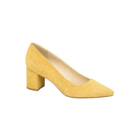 Žluté kožené lodičky 5th Avenue