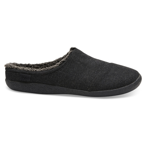 Black Herringbone Woolen Men Slipper Toms
