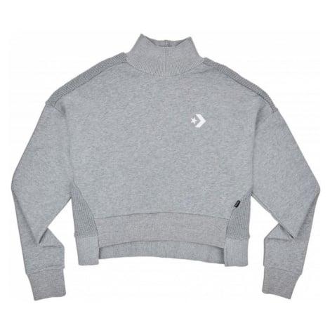 MIKINA CONVERSE Sweater Knit Mock WMS - šedá