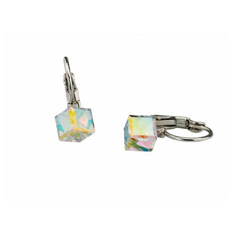 Linda's Jewelry Náušnice Cube Aurore Boreale Swarovski Elements IN124