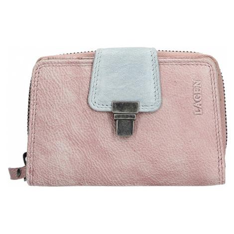 Dámská kožená peněženka Lagen Lea - fialovo-stříbrná