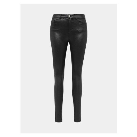Černé třpytivé skinny fit kalhoty s povrchovou úpravou Noisy May Callie