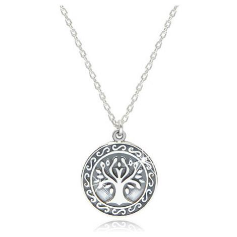 Náhrdelník ze stříbra 925 - lesklý strom života vyobrazený v kruhu Šperky eshop