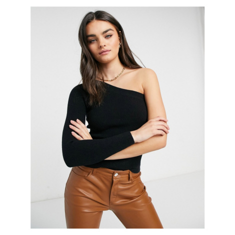 Lost Ink slim rib jumper with one shoulder-Black