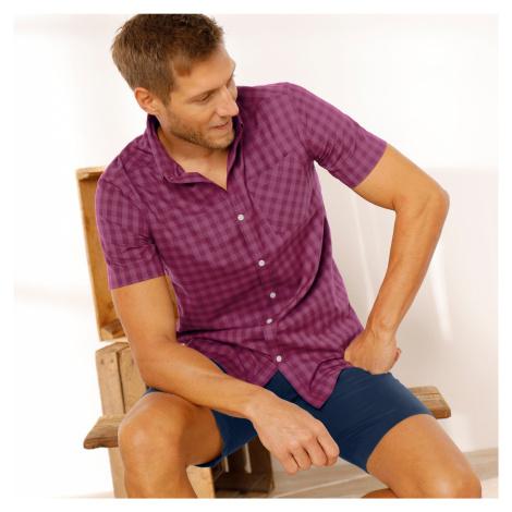 Blancheporte Kostičkovaná košile s krátkými rukávy starorůžová