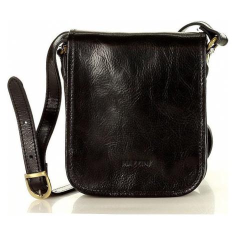 Marco mazzini malá černá kožená crossbody kabelka