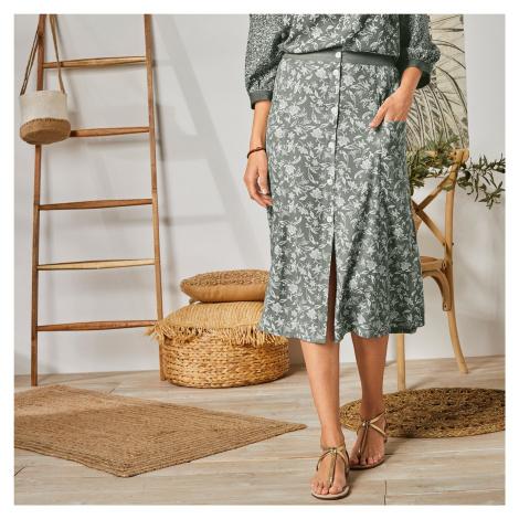 Blancheporte Dlouhá sukně s knoflíky a potiskem khaki/bílá
