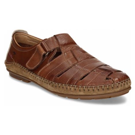 Hnědé kožené pánské sandály Fluchos