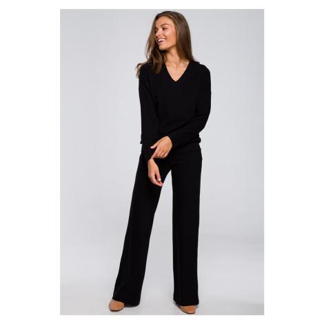 Černé široké kalhoty S249