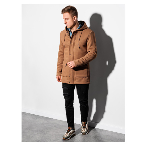 Jarní kabát C454 - hnědá Ombre