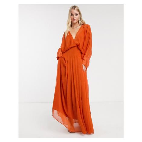 ASOS DESIGN dome sleeve maxi dress-Brown