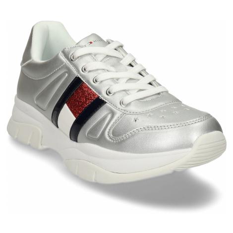 Stříbrné dívčí robustní sneakersky Tommy Hilfiger