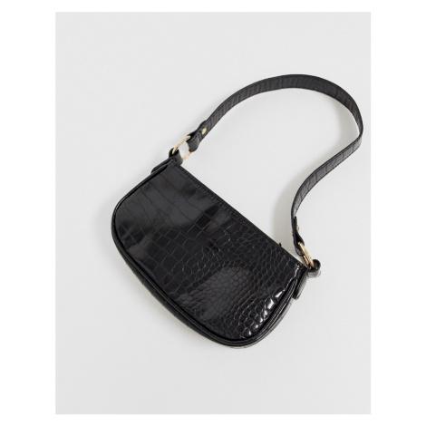 ASOS DESIGN croc effect 90s shoulder bag in black