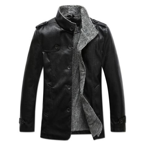 Zimní kožená bunda s kožešinovou podšívkou bunda na knoflíky