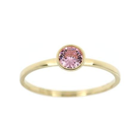Zlatý prsten s růžovým kamenem 4302ž