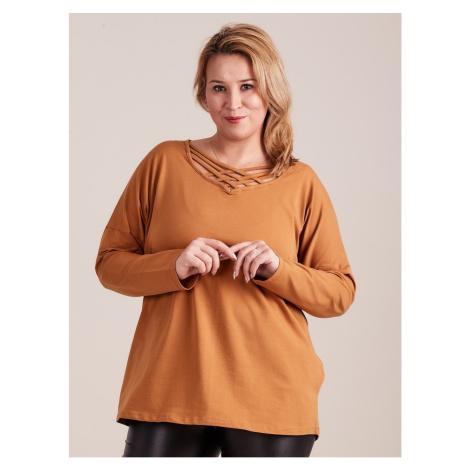 PLUS SIZE light brown blouse with a decorative neckline Fashionhunters