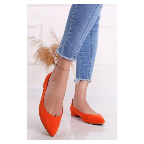 Oranžové semišové baleríny 2-22201 Marco Tozzi