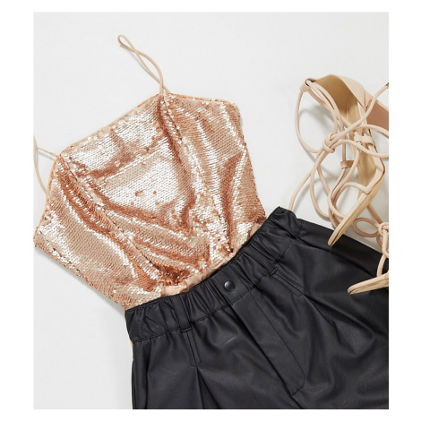 Collective the Label Petite sequin bodysuit in rose gold ombre