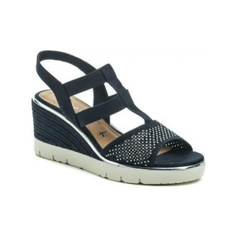 Tamaris 1-28370-22 navy dámské sandály na klínku Modrá