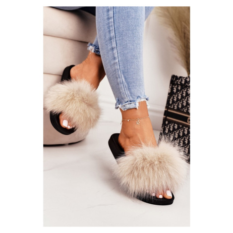 Women's Slippers With Fur Beige Belmondo Kesi
