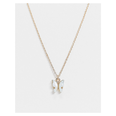 ASOS DESIGN necklace with blue butterfly charm in gold tone