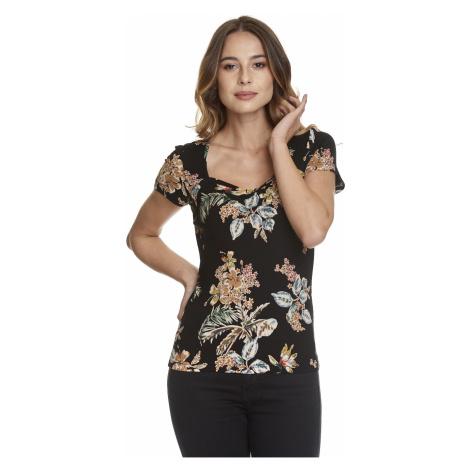 Elegantní černé tričko s krátkým rukávem Vive Maria Honolulu