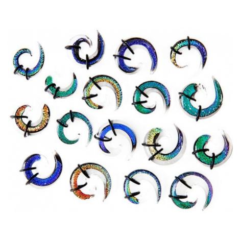 Expander do ucha - vícebarevná skleněná spirálka, gumičky - Tloušťka : 9,5 mm, Barva piercing: Č Šperky eshop