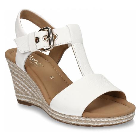 Bílé dámské kožené sandály na vysokém klínku Gabor