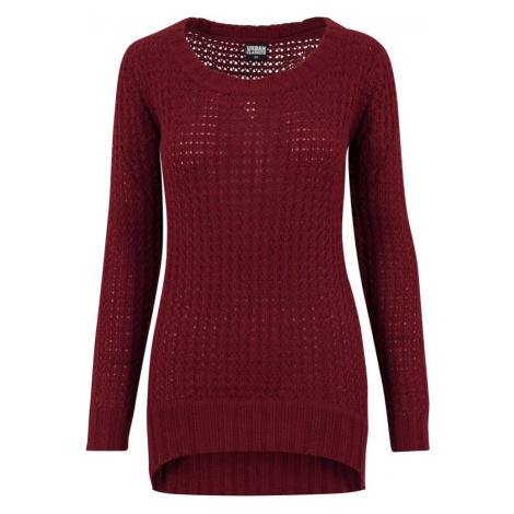 Ladies Long Wideneck Sweater - burgundy Urban Classics