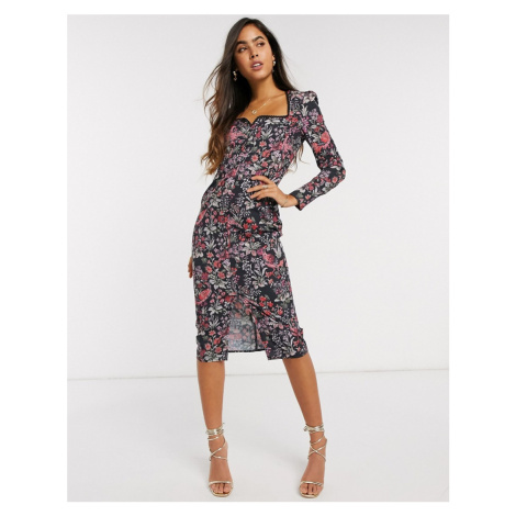 Hope & Ivy Square Neck Fitted Pencil Dress-Multi