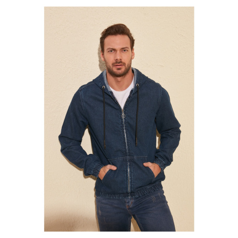Trendyol Indigo Men's Zippered Hooded Denim Jacket