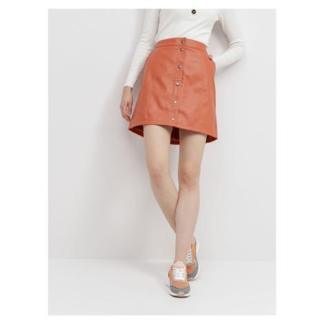Vero Moda oranžová koženková sukně Conneryray