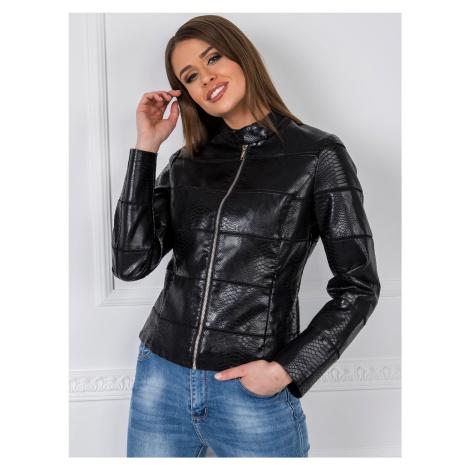 Černá bunda z umělé kůže FPrice