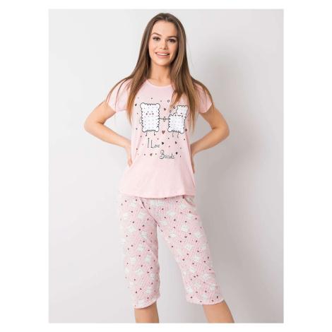 Světle růžové dámské bavlněné pyžamo FPrice