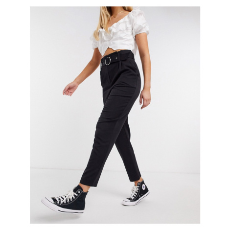 Miss Selfridge paperbag waist tailored trousers in black