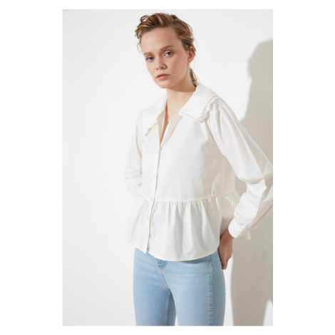 Trendyol Ekru Lace Detailed Shirt