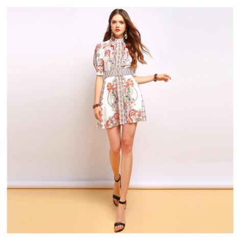 Modní mini šaty s límcem s geometrickým vzorem