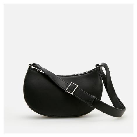 Reserved - Kožená kabelka stylu baguette - Černý