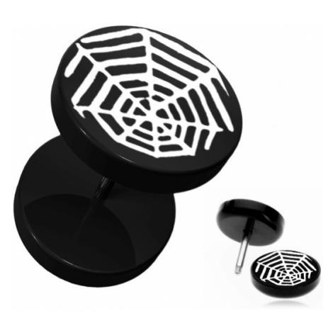 Černý kruhový fake plug do ucha - akrylový, pavoučí síť Šperky eshop