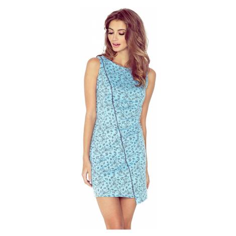 Modré asymetrické šaty s květy model 4977545 Morimia