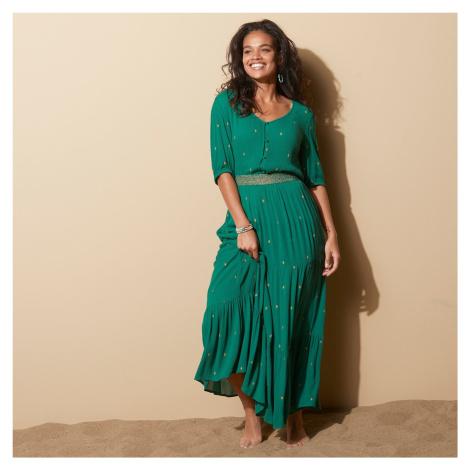Blancheporte Dlouhá sukně se zlatým potiskem zelená/zlatá