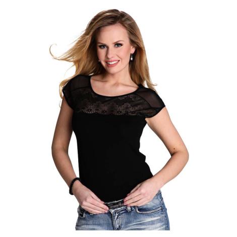 Dámské triko Marita černé s krajkou Eldar