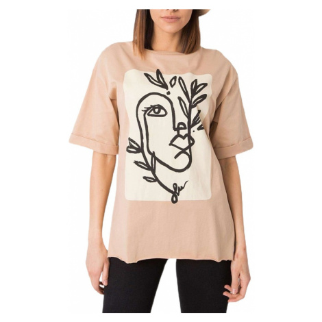 Béžové dámské tričko s potiskem Rue Paris