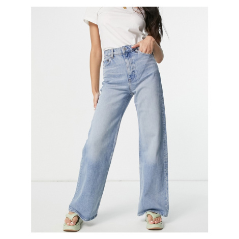 & Other Stories Treasure organic blend cotton wide leg high rise jeans in fisher blue
