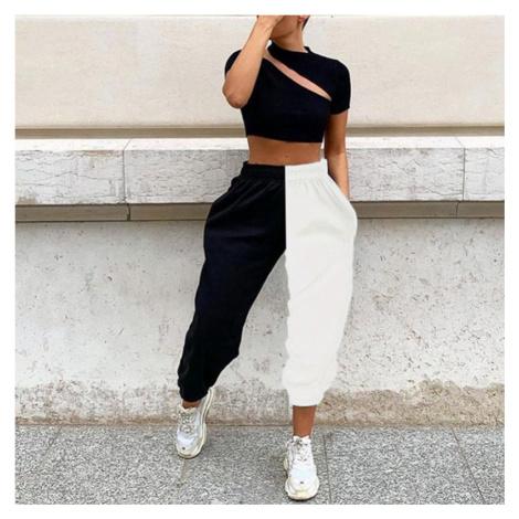 Dámské jogger kalhoty černobílé FashionEU