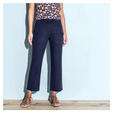 Blancheporte 7/8 kalhoty len/bavlna námořnická modrá