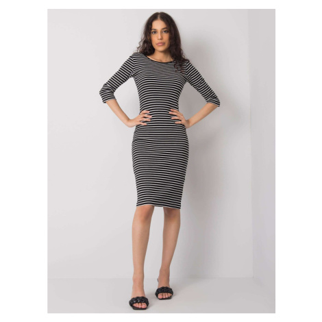 RUE PARIS Black and white fitted dress with stripes Fashionhunters